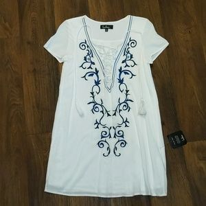 Lulu's White Boho Short Sleeve Dress XS NWT